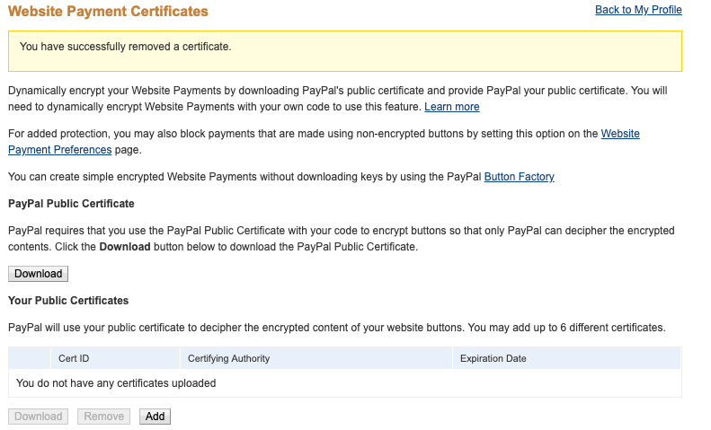 Website Payment Certificates