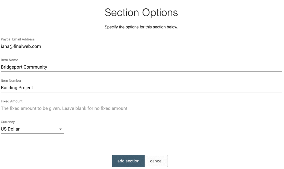 Donation Section Options